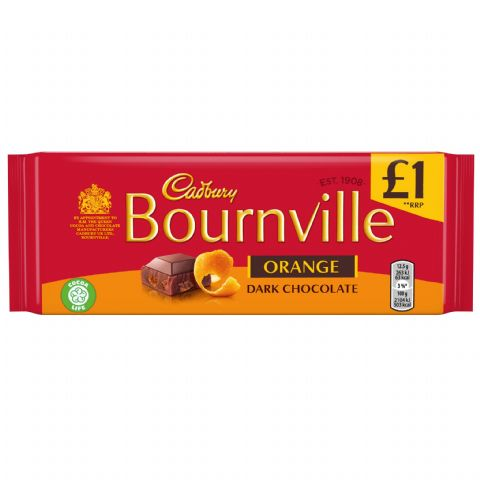 Orange Bournville Dark Chocolate Bar Cadbury 100g